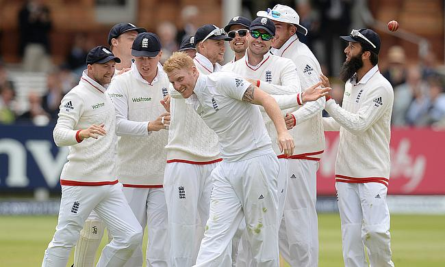 England players celebrating the wicket of Brendon McCullum during the First Test against New Zealand at Lord's.