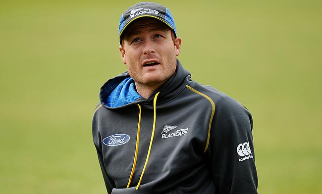 Martin Guptill in action during nets in Headingley.