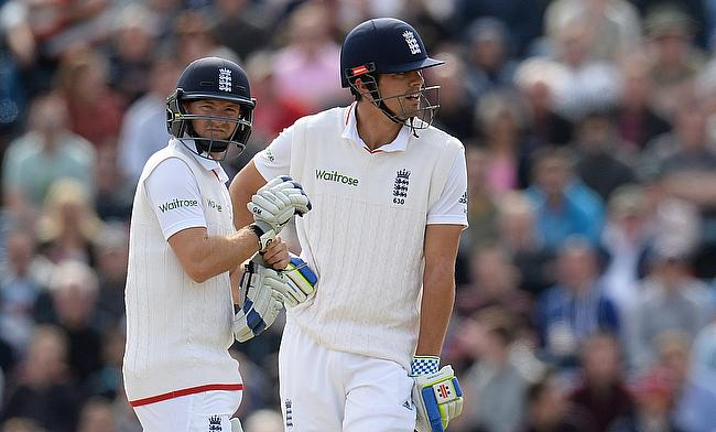 Adam Lyth (left) and Alastair Cook (right) now hold the record for the highest opening run stand in Headingley as the duo put on 177 against New Zeala