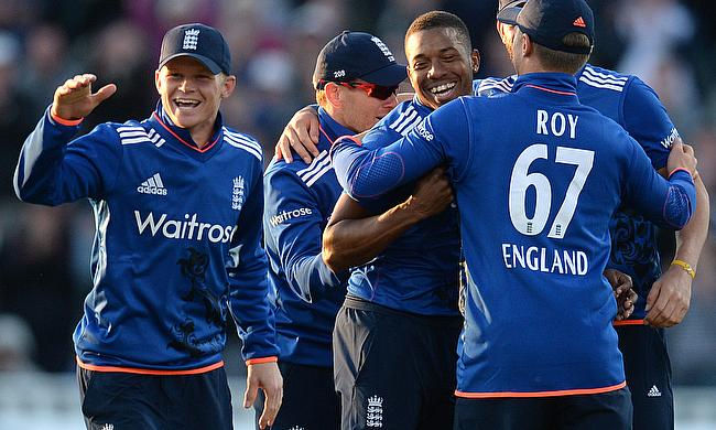 England celebrate a wicket at Edgbaston