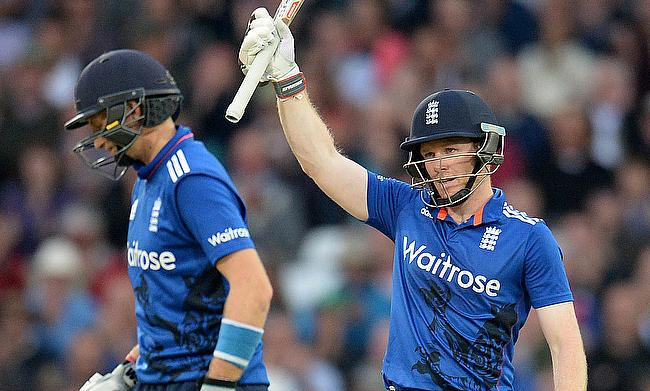 Eoin Morgan (right) and Joe Root hit blistering centuries as England recorded the biggest successful chase in all One-Day Internationals in England
