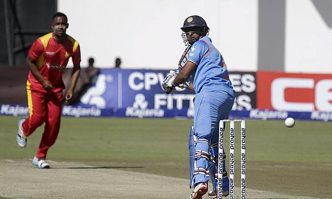Ambati Rayudu plays a shot against Zimbabwe