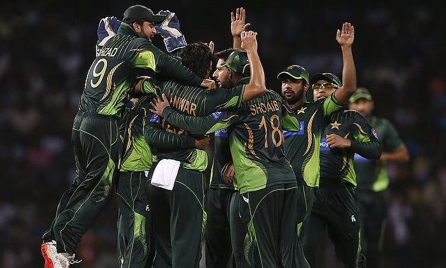 Pakistan celebrate victory in the first T20 International against Sri Lanka