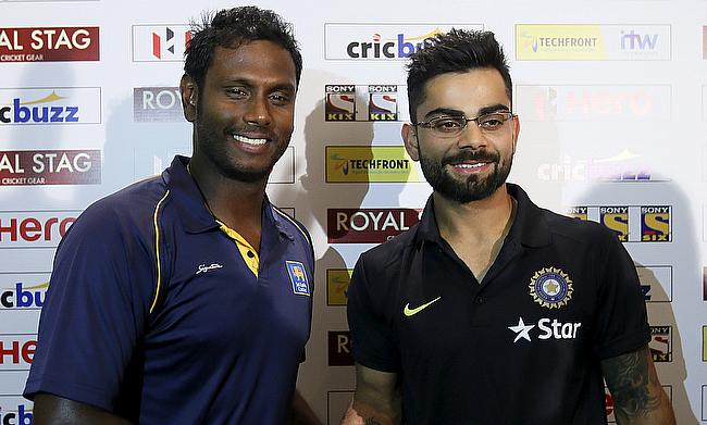 Sri Lanka's Angelo Mathews (left) and India's Virat Kohli (right) during a press conference ahead of the Test series.