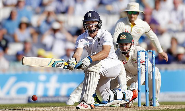 Jos Buttler in action during day three of the fifth Ashes Test at The Oval.