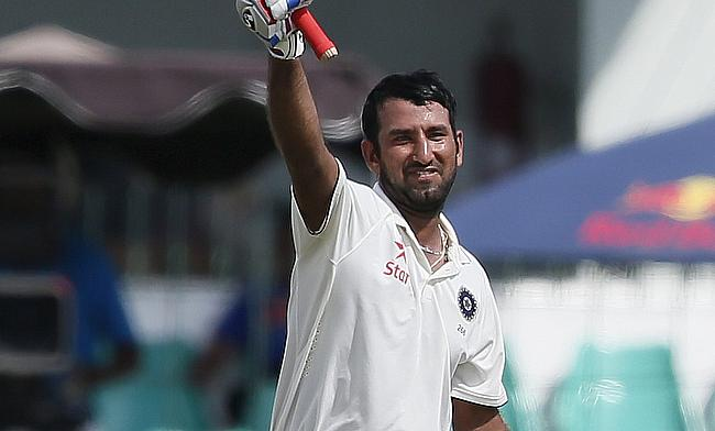 Cheteshwar Pujara scored a resilient unbeaten 135 as India managed to 292 for eight at stumps on day two of the third Test in Colombo.