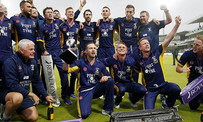 Durham celebrate their victory in the 2014 competition