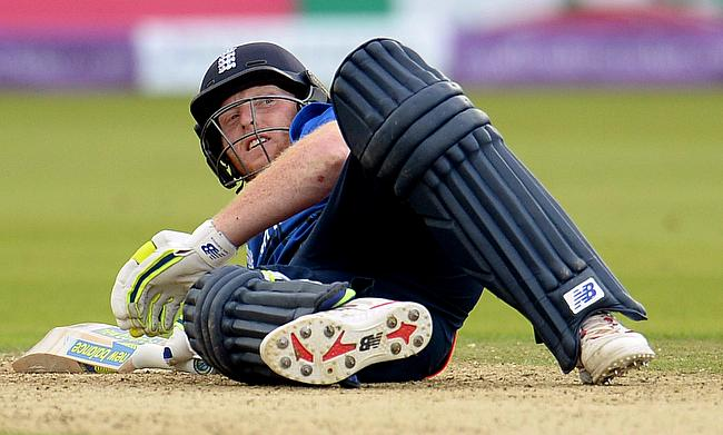 England's Ben Stokes on the ground after being given out obstructing the field in the second ODI at Lord's.