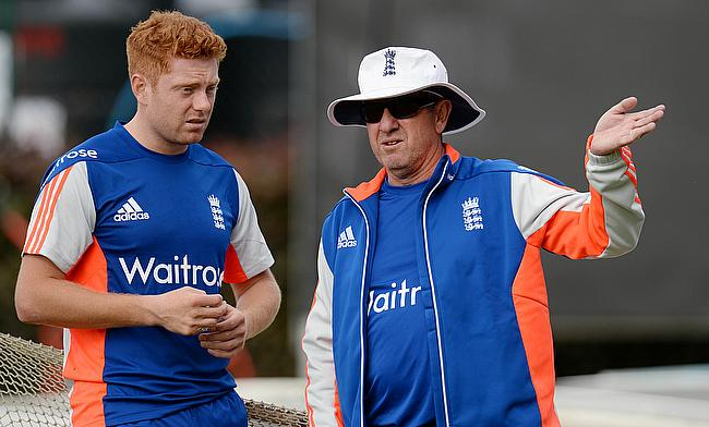 England coach Trevor Bayliss (right) with Jonny Bairstow (left) during a training session at Old Trafford.