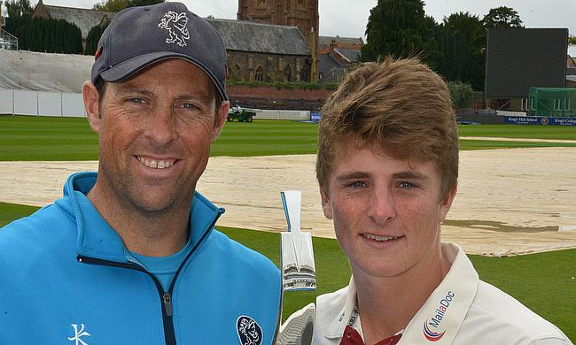 Tom Abell (right) with Marcus Trescothick