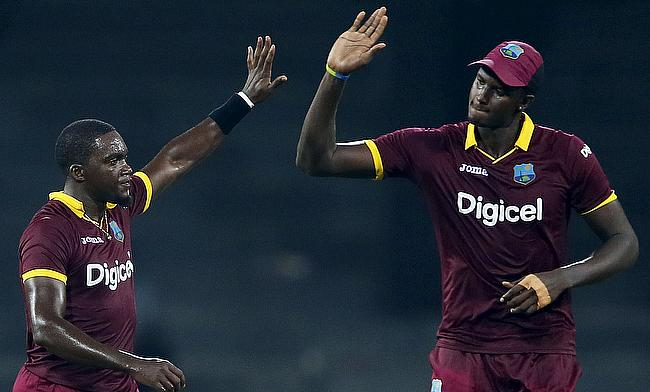 Jason Holder (right) will miss the second ODI for West Indies against Sri Lanka in Colombo.