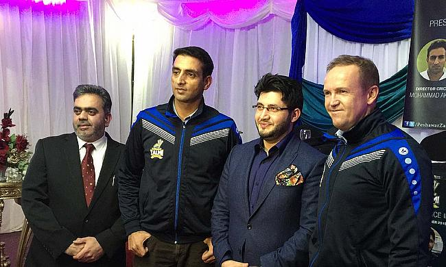 Head coach Mohammad Akram (second left), team owner Javed Afridi (second right) and batting consultant Andy Flower (right) at the launch