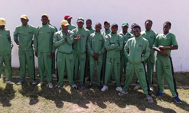 The Jamaican Academy showing off their all-new green kit provided by Spartan Cricket