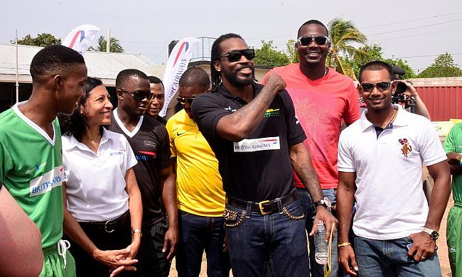 Chris Gayle at the academy in Kingston