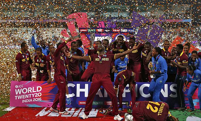 West Indies celebrate winning the ICC World T20