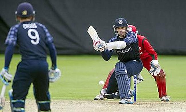Kyle Coetzer scored 63 runs off just 38 deliveries to take Scotland to a 23-run victory over Oman in Edinburgh.