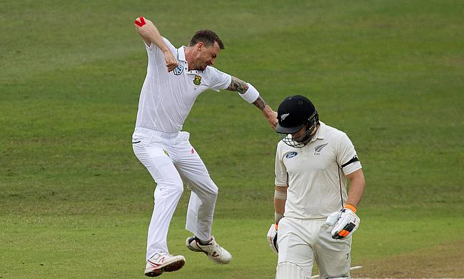 Dale Steyn (left) celebrating the wicket of Tom Latham (right).