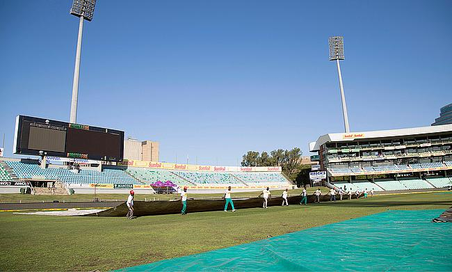 The outfield continued to be wet despite the bright sunshine in Durban