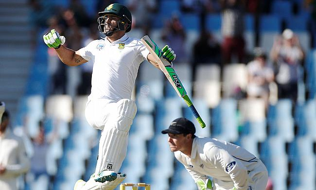 Faf du Plessis (left) celebrating his century on day two of the Centurion Test.