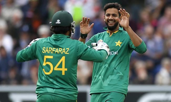 Imad Wasim (right) picked a five-wicket haul to dismantle West Indies batting line-up.