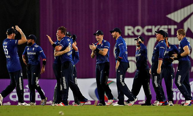 England players celebrating the win over Bangladesh in the first ODI