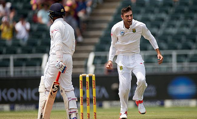 Duanne Olivier celebrating the wicket of Dhananjaya de Silva
