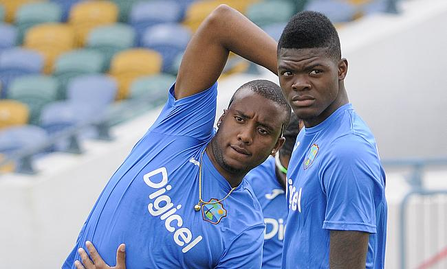 Miguel Cummins (left) and Alzarri Joseph in training ahead of third ODI