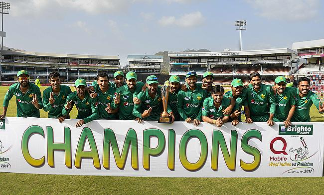 Pakistan players celebrating the T20I series win over West Indies