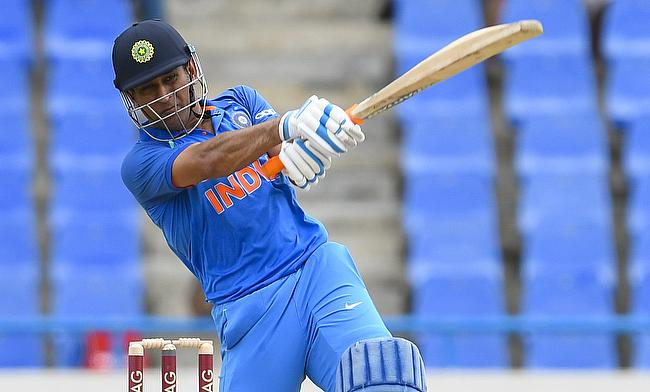 MS Dhoni in action during the third ODI against West Indies