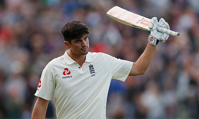 Alastair Cook reacts after losing his wicket