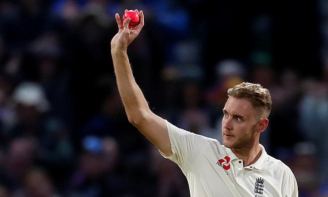 Stuart Broad celebrates the wicket of West Indies' Shane Dowrich as he went past Sir Ian Botham
