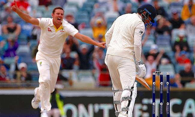 Josh Hazlewood (left) was Australia's hero on the final day