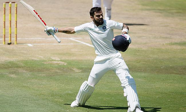 India's Virat Kohli celebrates his century