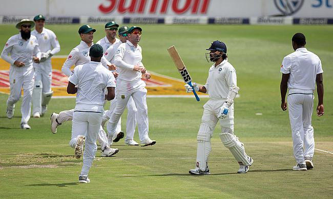 South Africa celebrating the wicket of Murali Vijay in Johannesburg
