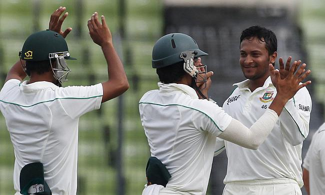 Shakib Al Hasan (right) will lead Bangladesh in the Test series