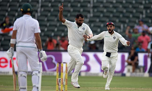 Mohammad Shami (centre) was India's hero in the final innings