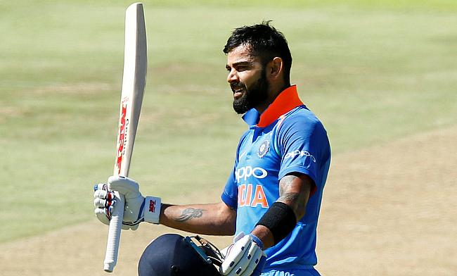 India's Virat Kohli celebrates his century in the Cape Town ODI