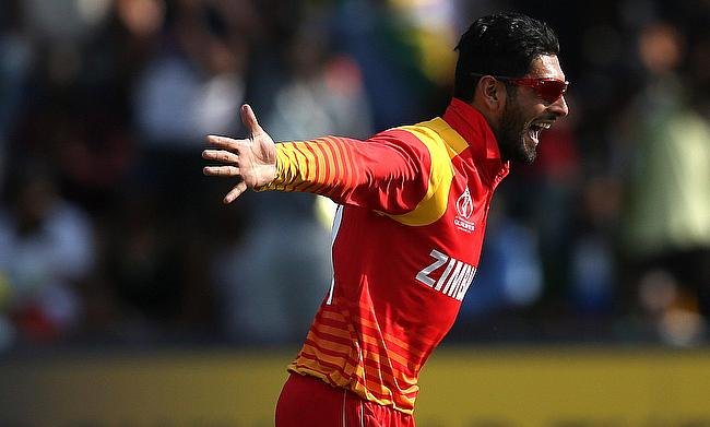 Sikandar Raza celebrating the wicket of Boyd Rankin