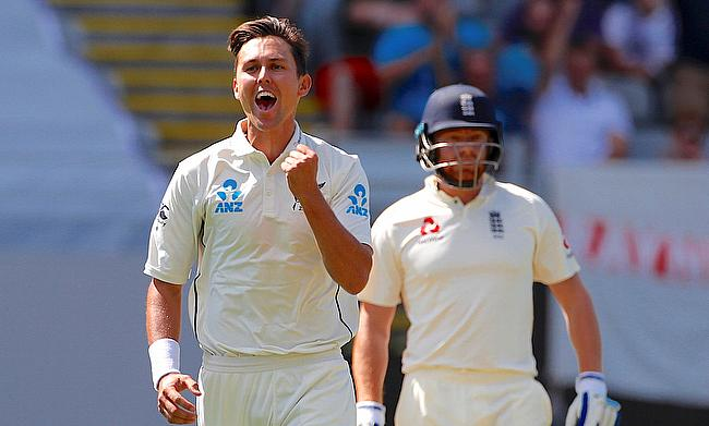 Trent Boult (left) extended his dominance with a six-wicket haul on day one in Auckland