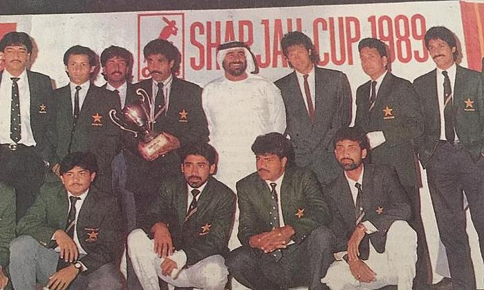 Sharjah Cup 1988-89 winners - sitting on extreme right.