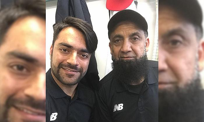 With Afghanistan's Rashid Khan - 2018.
