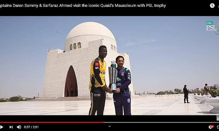 Captains Daren Sammy & Sarfaraz Ahmed visit the iconic Quaid's Mausoleum with PSL trophy