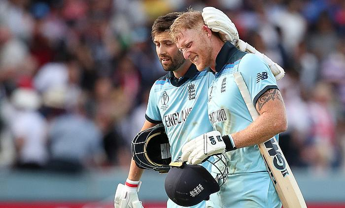 Ben Stokes and Mark Wood before the super over