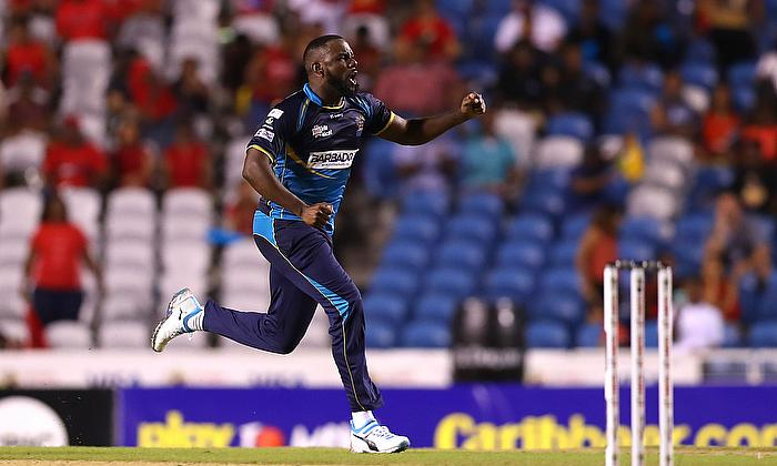Raymon Riefer of Barbados Tridents celebrates winning