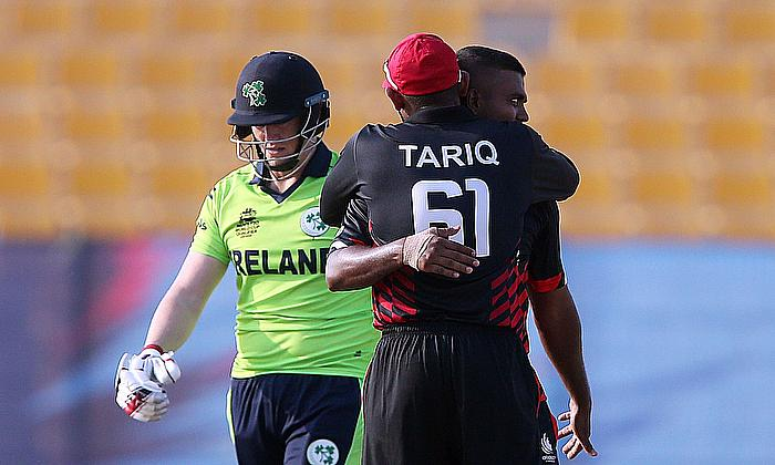 Romesh Eranga celebrates the dismissal of Kevin o'Brien