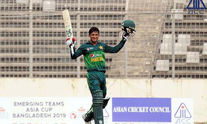 Rohail Nazir celebrating his century against Bangladesh in the final of ACC Emerging Asia Cup 2019