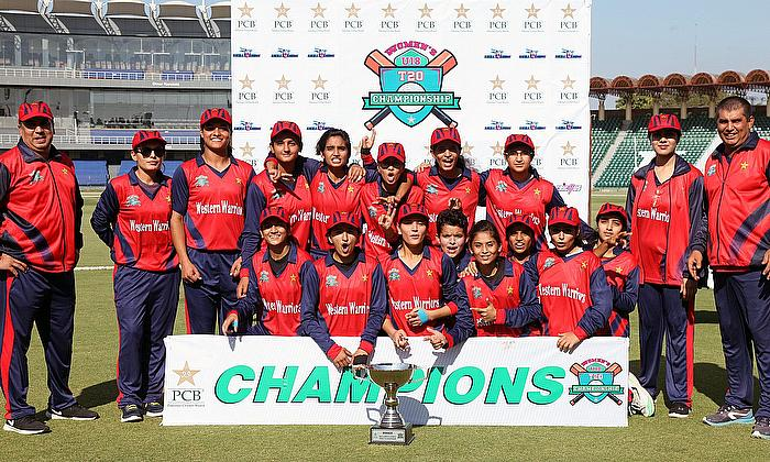 Western Warriors, the winners of the U18 T20 Championship, pose with the trophy - PCB