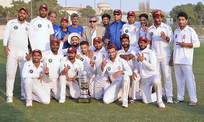 Winners of the Quaid-e-Azam Trophy 2nd XI Tournament 2019 in a group photo with Wasim Bari Head High-Performance Center