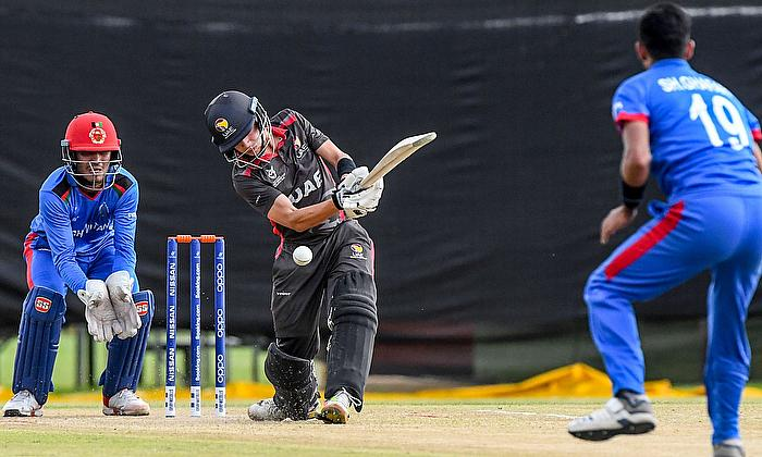 Kai Smith of the United Arab Emirates during the ICC U19 Cricket World Cup Group D match between Afghanistan and UAE