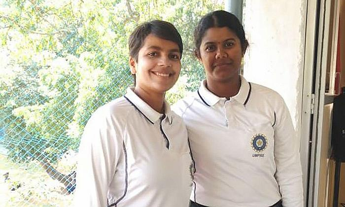 Janani Narayanan(R)and Vrinda Rathi (L) named in International Panel of ICC Development Umpires